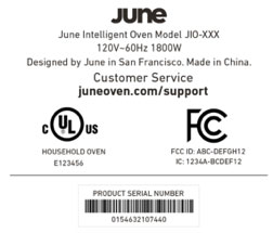 June Oven serial number label